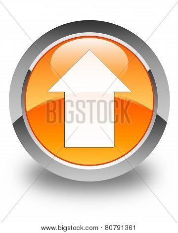 Upload Arrow Icon Glossy Orange Round Button