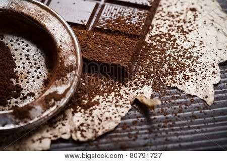 Silver Sieve With Cocoa Dust On Chocolate