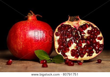 Pomegranates Side By Side