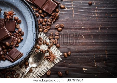 Old Plate With Teaspoon And Chocolate
