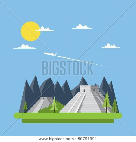 Flat Design Of Chichen Itza Mexico