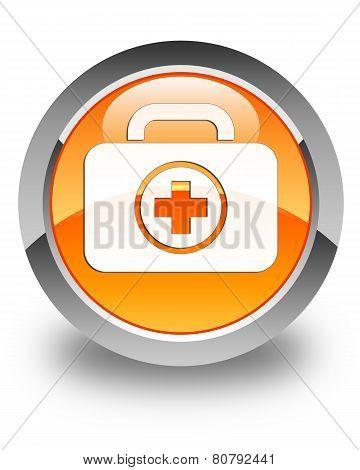 First Aid Kit Bag Icon Glossy Orange Round Button