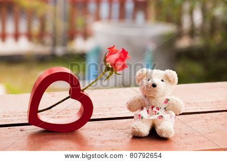 Red Heart And Teddy Bear For Love In Valentine, Vintage Style Valentines Day Background.