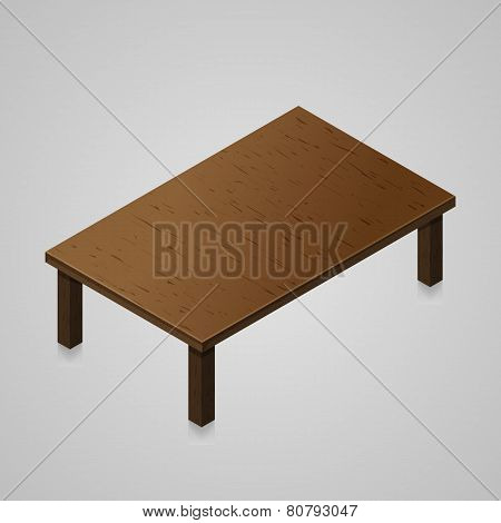 Isometric woden kitchen table