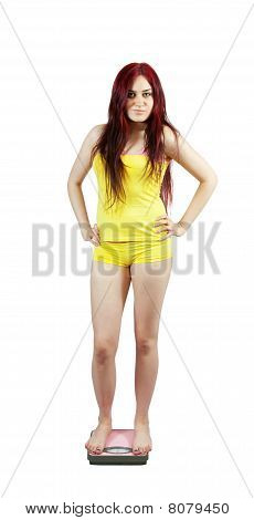 Girl Standing On Bathroom Scales