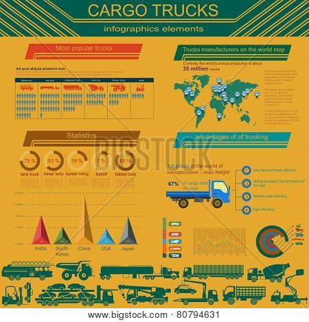 Cargo Transportation Infographics, Trucks, Lorry. Elements Infographics