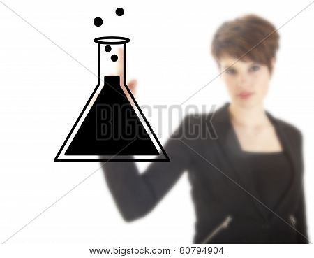Young Female Student With Science Tube Isolated On White Background