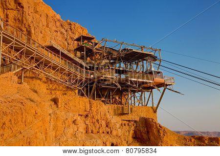 Cable Car Station At Massada