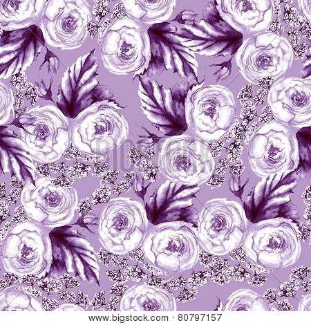 Hand drawn watercolor violet floral seamless pattern with tender roses and other flowers in vector
