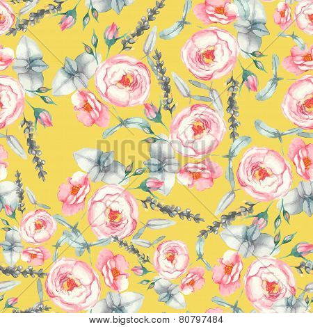 Hand drawn watercolor floral seamless pattern with tender pink roses in vector on the yellow backgro