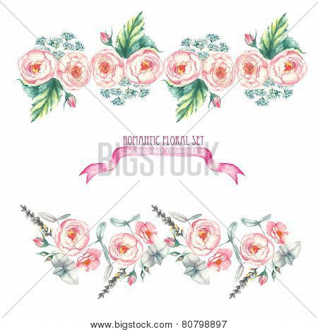 Hand drawn watercolor isolated romantic floral compositions, made like a floral borders with pink ro