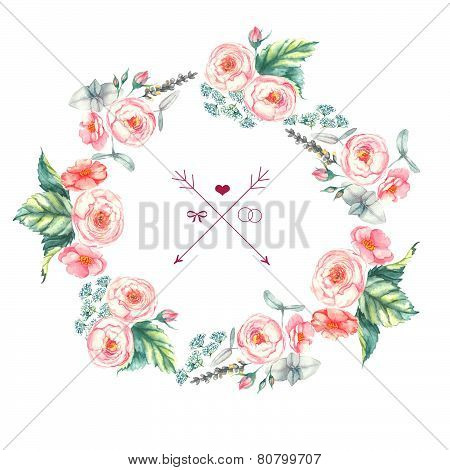 Hand drawn watercolor tender and romantic floral wreath with roses, brier and other flowers and leav