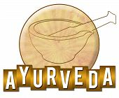 stock photo of ayurveda  - Ayurveda concept image with symbol and text over golden background - JPG