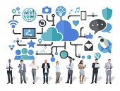 foto of social system  - Social Media Social Networking Connection Data Storage Concept - JPG