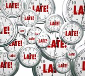picture of punctuality  - Late word on clocks flying by to illustrate being tardy - JPG