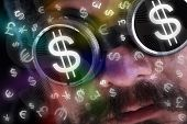 image of blinders  - Man looking at flying currency icons wearing dark goggles  - JPG