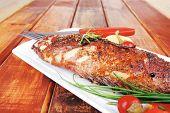 stock photo of sunfish  - main course on wood - JPG