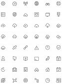picture of glyphs  - Set of the simple network and cloud services related glyphs - JPG