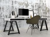 picture of workstation  - 3D Rendering of Stylish modern black and white office interior with a trestle desk with desktop computer - JPG