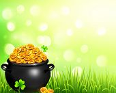 foto of pot gold  - Vector black pot of magic gold on bokeh light background - JPG