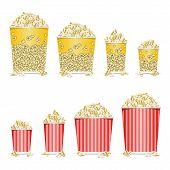 stock photo of popcorn  - Vector illustration of popcorn in a red box - JPG