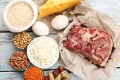 picture of gourmet food  - Food high in protein on table - JPG