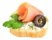 stock photo of olive shaped  - Canape salmon - JPG