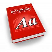 stock photo of pronunciation  - Big red dictionary isolated over white backgroud - JPG
