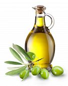 stock photo of olive trees  - Branch with olives and a bottle of olive oil isolated on white - JPG