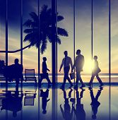 stock photo of terminator  - Business People Travel Beach Trip Airport Terminal Concept - JPG