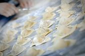 image of italian food  - Italian food ravioli in the making in a restaurant