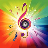 stock photo of transpiration  - Abstract rainbow background with Violin key  - JPG