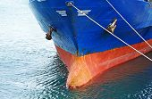 foto of ship  - A bow and keel of bulk cargo ship - JPG
