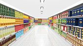 picture of supermarket  - Supermarket interior with shelves and various products - JPG