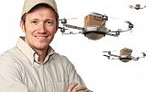 stock photo of drone  - 3d image of futuristic drone and workers - JPG