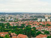 foto of suburban city  - landscape view from tower of sea and district gdansk danzig polish city suburb buildings houses exterior. ** Note: Visible grain at 100%, best at smaller sizes - JPG