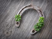 image of horseshoe  - Old rusty horseshoe and four leaf clover on a wooden background - JPG
