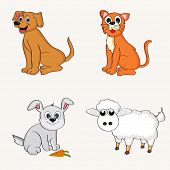 pic of cattle dog  - Set of cute happy cartoons of domestic animals like dog - JPG