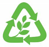 pic of reuse recycle  - Recycle sign with branch and leaves inside as a symbol of nature - JPG