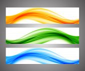 image of wavy  - Abstract wavy orange green blue bright banners - JPG