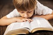 stock photo of faithfulness  - little boy studying the scriptures - JPG
