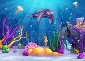 stock photo of sea-turtles  - Illustration of the underwater world with a funny fish and turtle - JPG