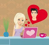 image of long distance relationship  - Young happy couple and love in web  - JPG
