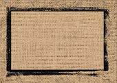 picture of tan lines  - Closeup tan color burlap textured background with black frame design - JPG