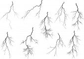 pic of lightning  - illustration with black lightning collection isolated on white background - JPG