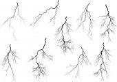 stock photo of lightning  - illustration with black lightning collection isolated on white background - JPG