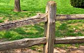 image of split rail fence  - A split rail fence on a very green city lawn - JPG