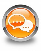 image of chat  - Chat icon on glossy orange round button - JPG