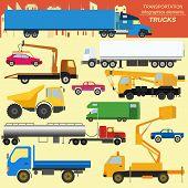 image of lorries  - Set of elements cargo transportation - JPG