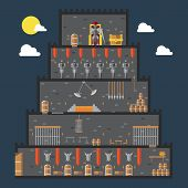 picture of dungeon  - Flat design of castle dungeon internal illustration vector - JPG